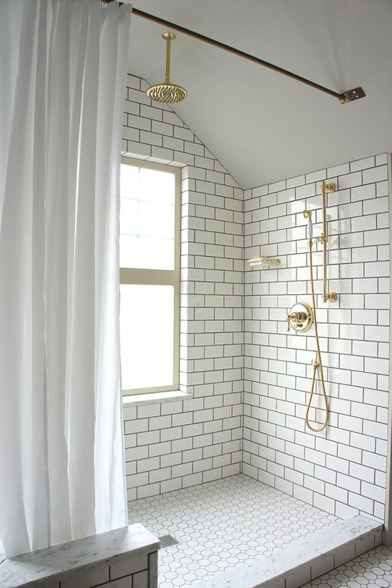 Shower curtain white waterproof window curtains in - Light Tile Dark Grout Designs By Katy
