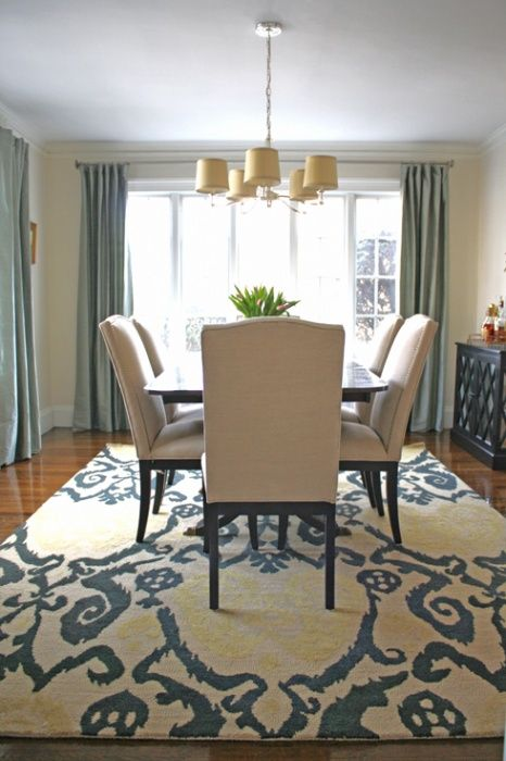 Rugs what goes where designs by katy for Dining room rugs